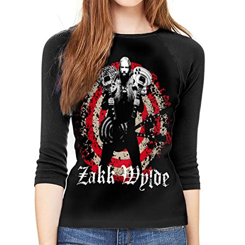 Black Label Society Shirt Teen Girl Women Raglan 3/4 Sleeved Round Neck T-Shirt Baseball Shirt (Black Label Society Jean Vest)