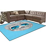 Sloth,Carpet,Portrait of Sloth with Mirror Sunglasses Exotic Palm Trees Hawaiian Beach Hipster,Non Slip Rug,Grey Blue Aqua,5'x6'