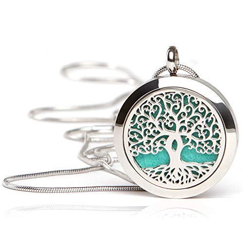 Essential Oil Diffuser Necklace - Magnetic Locket - Best for Aromatherapy - Perfume, Fragrance, Scent Diffusers for Women and Girls - Tree of Life Jewelry Gift Set ()