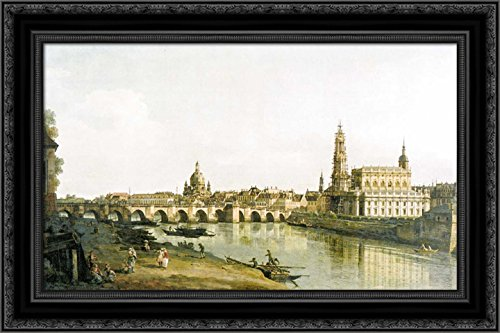 - View of Dresden from The Right Bank of The Elbe with The Augustus Bridge 24x16 Black Ornate Wood Framed Canvas Art by Bernardo Bellotto