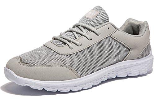 Newluhu Mens Laufschuhe Leichte Atmungsaktive Outdoor Athletisch Lace-Up Lässige Mode Turnschuhe Weich Grau