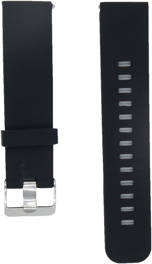 @ccessory 22mm Reemplazo liberación rápida Correa de Reloj Silicona Pulsera para Pebble Time/Pebble Time Steel/ASUS Zenwatch 1st 2nd / Moto 360 2nd Men's 46mm Negro
