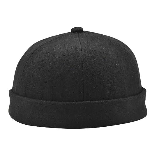 890954b5454 Men Women Casual Solid Color Docker Sailor Mechanic Brimless Hat Cap (Black)