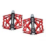 Pair Bicycle Pedal,GEEDIAR Aluminum Alloy Mountain Bike Pedal Super Light Stable Plate (Red) with Free Bike Underwear