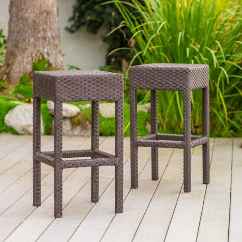 Milton Outdoor Brown Wicker Backless Bar Stool (Set of 2) by Christopher Knight Home ()