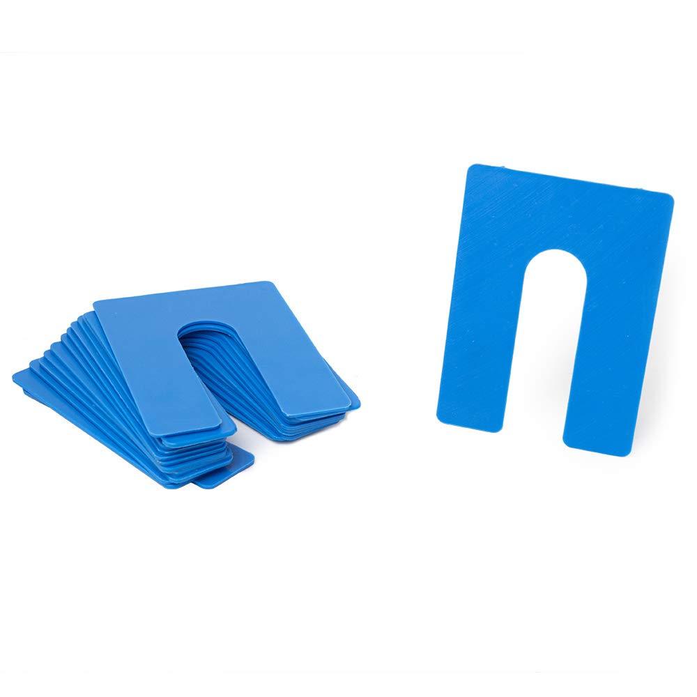 1/16'' x 3'' x 4'' Plastic Shims Structural Horseshoe U Shaped, Tile Spacers, Blue, Quantity 100 by Bridge Fasteners by Bridge Fasteners