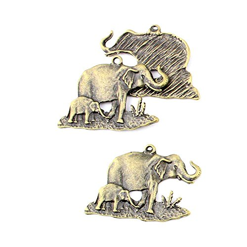 90 Pieces Jewelry Making Charms 004KX Elephant Findings Antique Brass Retro DIY Vintage Supply Supplies Craft ()