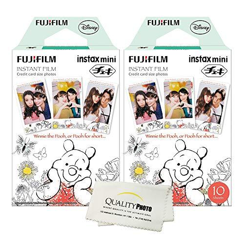fujifilm instax Mini 8 and Mini 9 Instant Film 2-Pack (20 Sheets) Winnie The Pooh + Quality Photo Microfiber Cloth ... (Instax Mini Film Winnie)