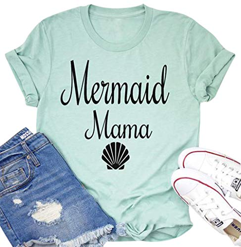 Mermaid Mama Shirt Women Cute Shell Graphic Print Print Letters Shirt Short Sleeve Casual Funny Tops Size M (As -