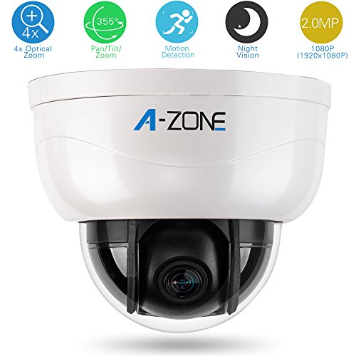 A-ZONE 3Axis Dome Camera 1080P 4X Optical Zoom Plastic Indoor Megapixel HD Mini Medium Speed PTZ CCTV Camera Night Vision