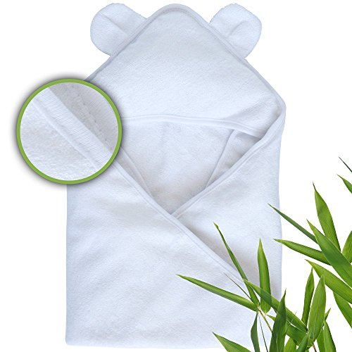Moon and Baby, Organic Bamboo, Hooded Towels, 34 x 34 inch (All White)