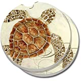 CounterArt Absorbent Stoneware Car Coaster, Sea Turtle, Set of 2