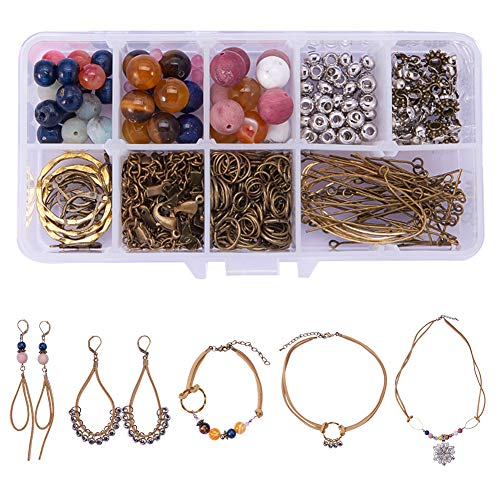 (SUNNYCLUE 1 Set 242pcs DIY Faux Suede Natural Semi-Precious Gemstone Collection Jewelry Necklace Choker Bracelet Earrings Making Starter Craft Kit - Make 8 Jewelry, Brown)