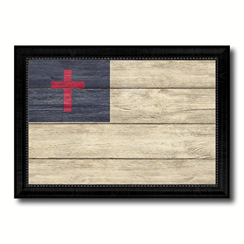 Kayso Christian Religious Military Flag Texture Canvas Print Black Picture Frame Home Decor Wall Art Decoration Gift Ideas Signs 27''X39'' by SpotColorArt