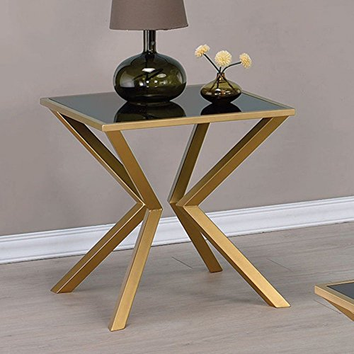 Coaster 705187-CO Glass Top End Table, Brushed Brass Review