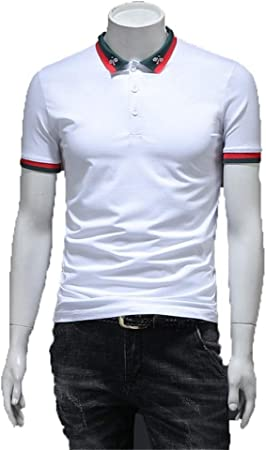 Manga corta de los hombres Botón inferior del cuello Camisa polo de golf de manga corta