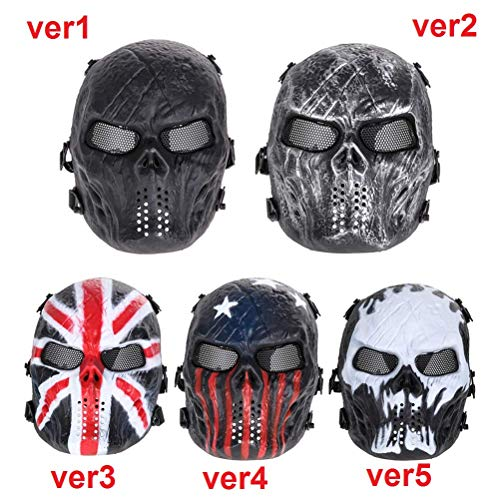 mrGood Skull Airsoft Party Mask Paintball Full Face Mask Army Games Mesh Eye Shield Mask for Halloween Cosplay Party -