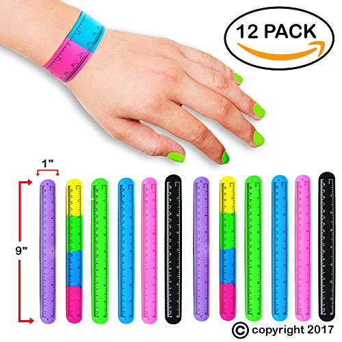 Slap Bracelets Toys for Kids, Girls, Boys 12 PCs - Silicone Wrist Ruler Snap Bracelet - Tape Measure Style for Education and Sensory - Great Birthday Party Favors - Supplies - School Prizes and Gifts by FROG SAC (Image #5)