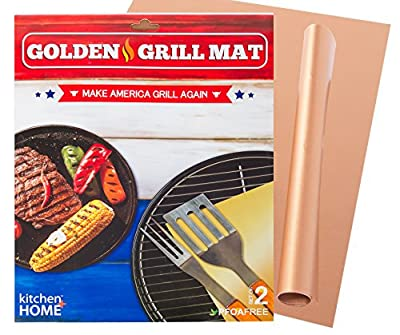 Kitchen + Home Golden Grill Mat – Make America Grill Again - Set of 2 Nonstick, Heavy Duty, Reusable, BPA & PFOA Free BBQ Grill & Baking Mats for Gas, Charcoal & Electric Grills by SC Chang