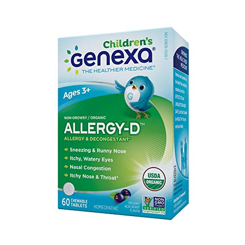 Genexa Homeopathic Allergy for Children: The Only Certified Organic Kids Allergy & Decongestant Medicine. Physician Formulated, Natural, Non-GMO Verified & Non-Drowsy (60 Chewable Tablets)