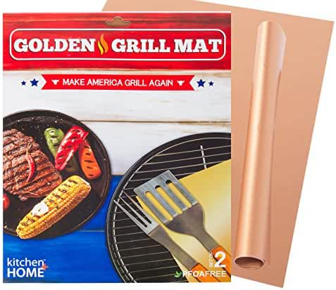 Kitchen + Home Golden Grill Mat – Make America Grill Again - Set of 2 Non-stick, Heavy Duty, Reusable, BPA and PFOA Free – BBQ Grill & Baking Mats for Gas, Charcoal and Electric Grills