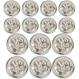MetalBlazerButtons.com Brand [Polished Silver] Eagle Stars & Anchor [14-Button] (Double Breasted) Metal Blazer Button Set by METALBLAZERBUTTONS.COM