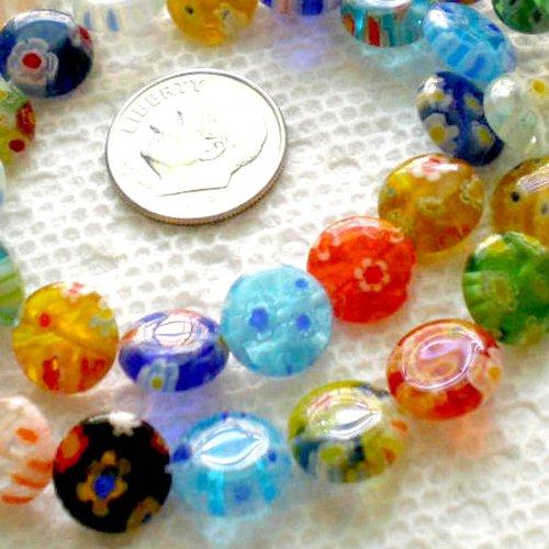 Beading Station 40-Piece Mix Millefiori Lampwork Glass Coin Beads, - Glass Coin Lampwork Beads