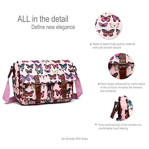 Sacoche Chouette à toile Papillon Miss épaule ou Lulu Messenger en Retro Sac pour Pink Vintage cirée femme Cross Feuilles Butterfly Toile école main t06pH0