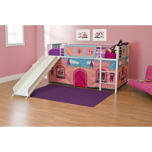 (Girls Princess Castle Loft Bed with Slide Bunk Bed Twin Size White)