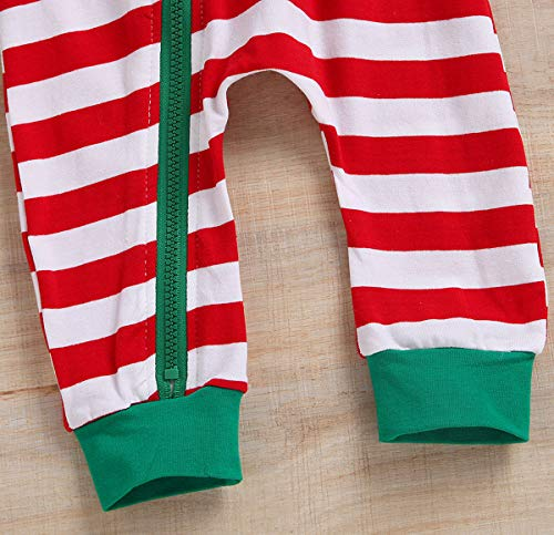 50496a6e0 Unisex Baby Boy Girls Christmas Outfit Family Pajamas Long Sleeve Striped  Zipper Hooded Romper Jumpsuit Infant