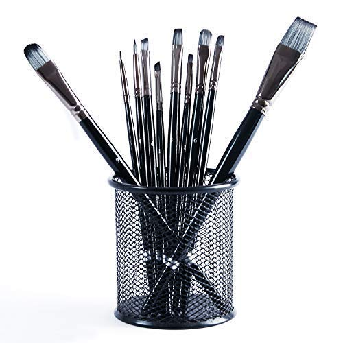 - Cooptop 10 Pcs High-end Artist Paint Brush Set with Nylon Hair Tips, Suitable for Watercolor, Oil, Acrylic, Gouache, Etc.