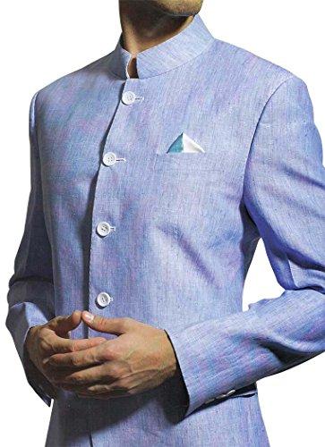 INMONARCH da uomo tradizionale matrimonio Cielo Blu Lino Suit LS24 Sky-Blue 52 Lungo