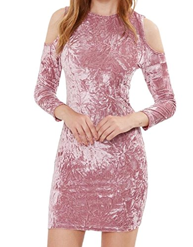 Confortables Col Rond Moulantes Sexy Femmes Robes Club Bustier Moulante Rose