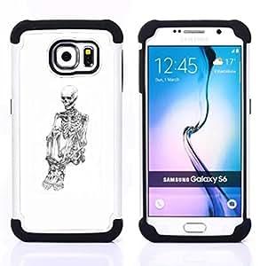 """Pulsar ( Blanco Cráneo Esqueleto Deprimido Negro"""" ) Samsung Galaxy S6 / SM-G920 SM-G920 híbrida Heavy Duty Impact pesado deber de protección a los choques caso Carcasa de parachoques"""