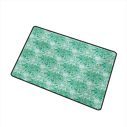 (duommhome Non-Slip Door mat Turquoise Floral Pattern with Beryl Crystal Guilloche Flowers Carving Art Elements Image Print W31 xL47 Easy to Clean)