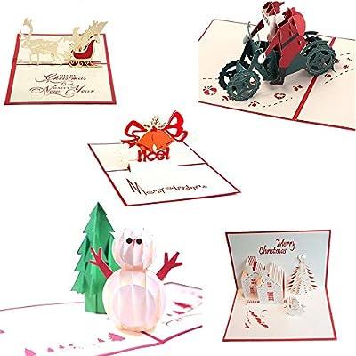 Uniqstore 5 pack tarjetas de felicitación navideñas 3D,Tarjetas de regalo de papel para manualidades: Amazon.es: Oficina y papelería