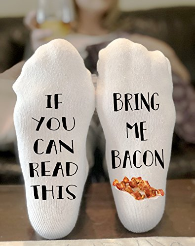 If You Can Read This Bring Me Bacon Novelty Funky Crew Socks Men Women Christmas Gifts Cotton Slipper Socks by California Social Hour