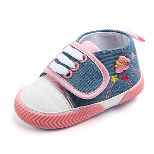 Z-T FUTURE Baby Canvas Shoes - Infant Boys Girls Crib Shoes Toddler Denim Sneakers For 0-18 Months (4.6 inches (6-12 Months), Pink)