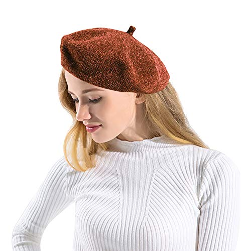 JANGANNSA Women Winter Warm Beret Hat Lady Ski Chenille Fabric Beanie Cap Female Headwear Accessory (Orange)
