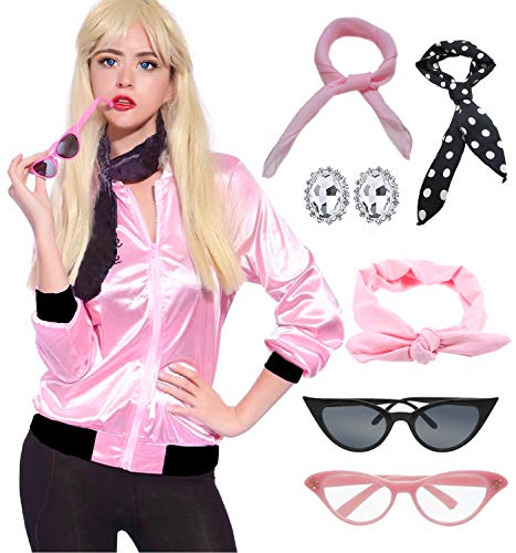 zhongyichen Women 50S Pink Ladies Jacket with Rhinestone (M, Pink)]()
