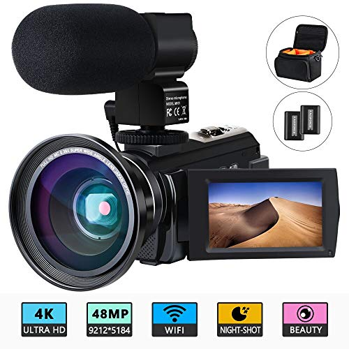 Video Camera 4K Camcorder ACTITOP Video Camcorder 48MP Full HD WiFi IR Night Vision 16X Digital Zoom Video Camcorder with External Microphone, Wide Angle Lens and Camera Bag