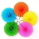 multi colored paper - Pretty and Fun Hanging Round Mini Multicolored Pastel Fan Party Decoration, Paper , 6