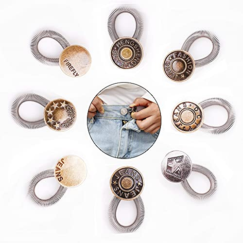 AXEN 8 Pieces Button Waisitband Extender Elastic Spring Stainless Steel Extender Bottons for Denim Jeans Trousers Pants Shirts Collars, Style 3