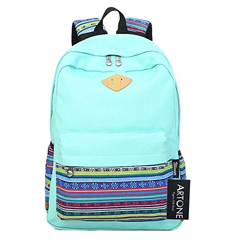 Artone Canvas Tribal Stripes Travel Daypack Campus Backpack with Interior Pockets Teal