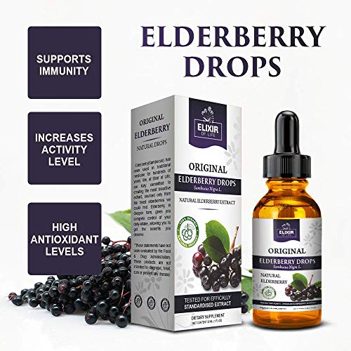 Elderberry Drops - Potent Immunity booster, Allergy relief, Cold & Seasonal Relief - Sambucus Nigra - USA Made by Elixir Of Life (Image #3)