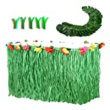 Hawaiian Luau Party Supplies-1 Pack Grass Table Skirt 9ft,20 Pcs Tropical Faux Palm Leaves5Pcs Adhesive Hook & Loop for Hula, Luau, Maui, Hawaiian, Moana Themed Party(26pcs)