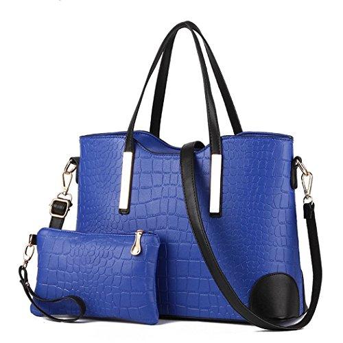 Ryse Womens Fashionable Classic Exquisite Handbag Shoulder Bag Small Wallet(Blue)