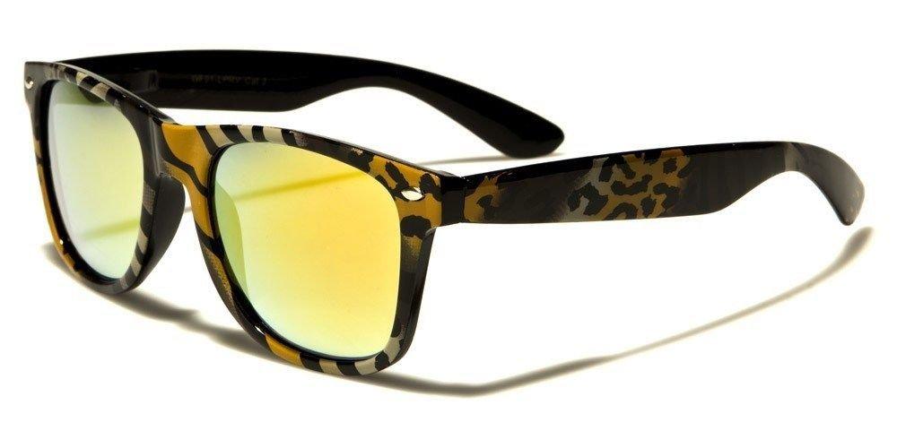 Brown Animal Print Retro Vintage Mirrored Women Men Fashion Sunglasses