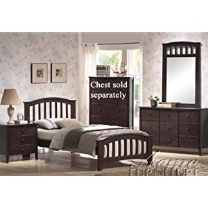 4pc Twin Size Bedroom Set with Slat Design in Dark Walnut Finish