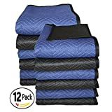 Southern Wholesales Utility Moving Blanket,Deluxe Quality 72 x 80 Inches,65-70lbs/Doz,12-PK,Black/Blue